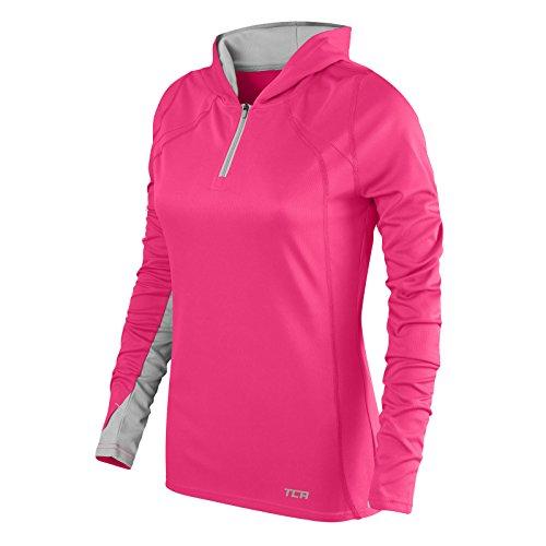 TCA Damen Leichtes Lauf-Shirt Energy - Kragen mit Kapuze und Reißverschluss - Vivid Pink/Cool Grey (Pink/Grau) - S (Laufshirt Sleeve-damen)