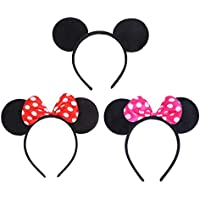 VEYLIN 6 Pack Mickey Minnie Mouse Ear Headband for Kids Adults Birthday Party Bag Favors