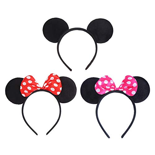 Wander EU 4 PCS Minnie Mouse Ears Bow Headbands Glitter Party Decoration Frozen Inspired Princess Elsa Anna Snow White Mickey Ears Headband for Kids 4PC