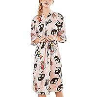OPAKY Mujeres Simulación Seda Damas Pijamas Lencería Bata Albornoz Novia Bata Servicio a Domicilio Kimono Mujer