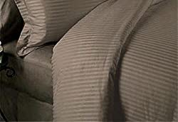 ItalianHome Collections 3PC Duvet Set 600 Thread Count Double 100% Egyptian Cotton Taupe Stripe by HotHaat