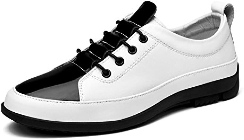 Men's Leder Freizeit Sehnen Schuhe Dress Herbst Business Hochzeit Mode Rutschen Weiß Schwarz
