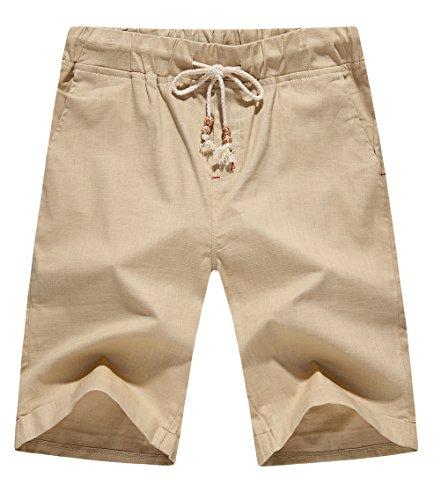POSESHE Herren Drawstring Leinen Casual Sommer Beach Shorts