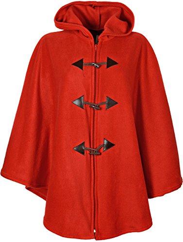 Damen-Poncho, warm und flauschig, mit Kapuze, Einheitsgröße, einfarbig, 78,7cm lang Gr. Einheitsgröße, rot