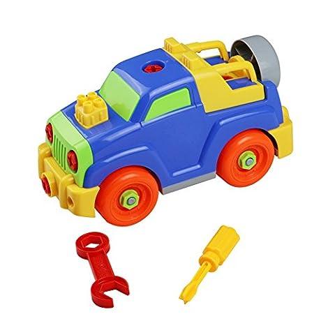 Jouet Démontage Assemblage Jeux de Construction Animé Voiture Jeep avec des Accessoires Pour Enfant Garçon Fille 3 Ans et Plus
