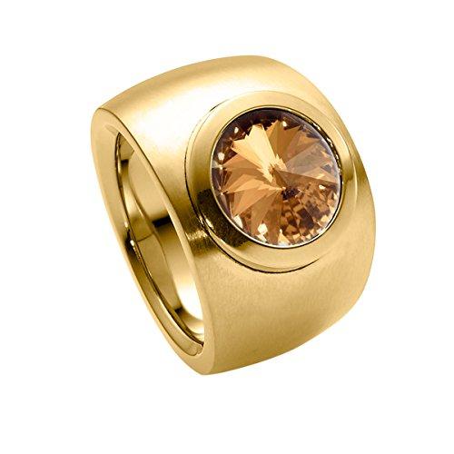 Heideman Ring Damen Coma Verlauf aus Edelstahl Gold farbend matt Damenring für Frauen mit Swarovski Stein Kristall Bernstein braun im Fantasie Edelsteinschliff 10mm