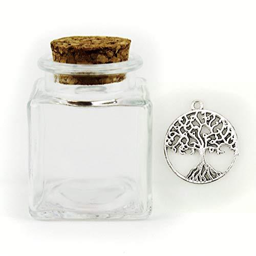 Dlm-27494 (kit 24 pezzi) barattolo in vetro con ciondolo albero della vita porta confetti bomboniera
