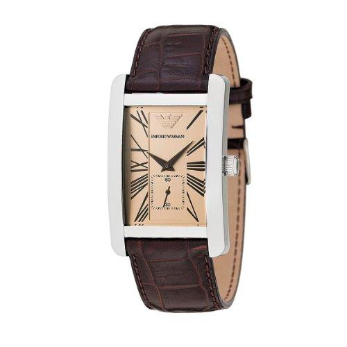 Emporio Armani Classic AR0154 - Reloj analógico de cuarzo para hombre, correa de cuero color marrón