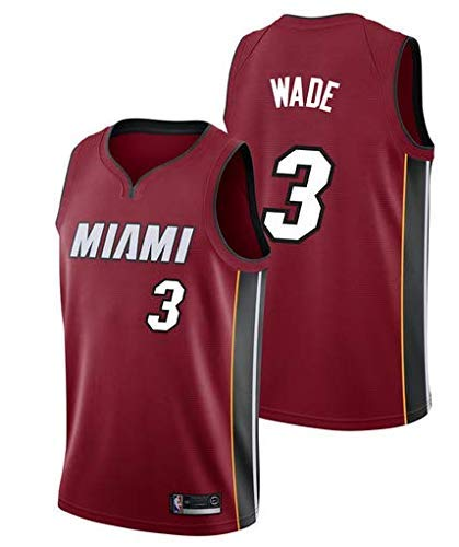 KSXHZX Herren NBA Dwayne Wade#3 Miami Heat, Fan-Trikot Jersey Basketballuniform Stickerei Tops Basketball Anzug (X,M)