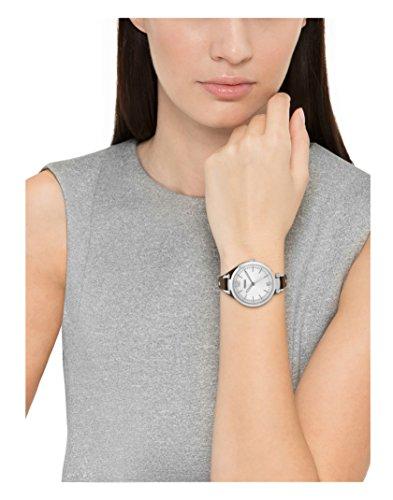 Fossil Georgia Damenuhr silber / Analoge Vintage Armbanduhr im Boyfriend-Stil - großes Ziffernblatt & schmales, braunes Lederband - 2