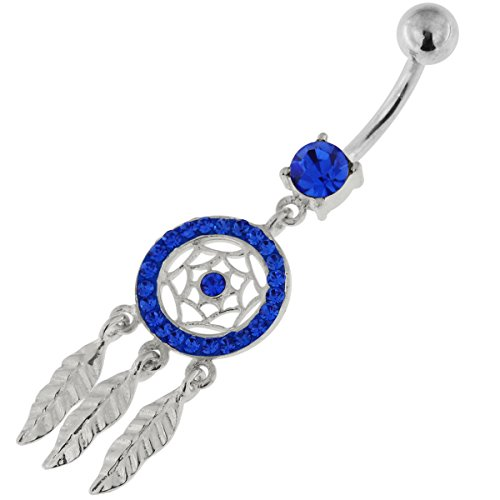 Dunkel blau Multi Crystal Stein Mini Dream Catcher 925 Sterling Silber Bauch Bar Piercing-Schmuck
