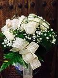 Ramo de 12 Rosas Blancas + Jarrón de Cristal