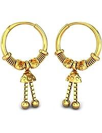Candere By Kalyan Jewellers 18KT Yellow Gold Hoop Earrings for Women