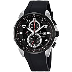 Festina CHRONO Men's Quartz Watch with Black Dial Chronograph Display and Black Rubber Strap F6841/2