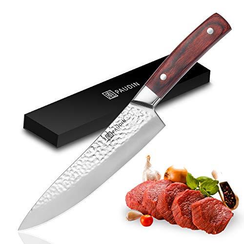 PAUDIN 20cm Kochmesser, Profi Küchenmesser Chefmesser N3 aus hohem Kohlenstoff-Edelstahl mit Hammerschlag, 7Cr17Mov Scharfes Messer mit ergonomischem Griff