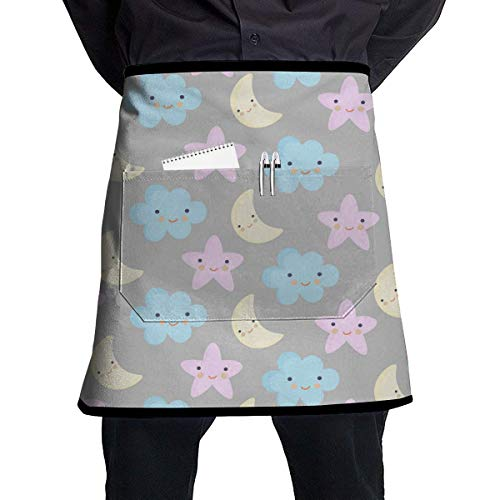 MSGDF Cute Cartoon Stars Moon and Clouds Waist Apron Server Apron with Pockets Commercial Restaurant Waitress Waiter Waterproof Kitchen Apron for Men Women Half Bistro Aprons Star-server