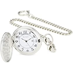 Bucasi PW1000SS Easy to Read Numbers Silver Tone Chain Pocket Watch