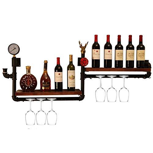 CZZ Weinregal Doppelwand Weinflasche Rack Metall Eisen Lagerregal Bar Aus Holz Wand Hängen Becher Flaschenregal,A,Weinregal
