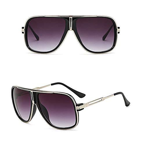 Herrenmode Trend Big Frame Coole Sonnenbrille für den Außenbereich. Accessoires (Farbe : Schwarzes Silber)