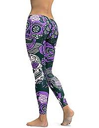 MEIbax Casual Leggings Deportes Pantalones para mujeres Personalidad Calavera Pintada Estampado 3D Imprimir Fitness Gym Yoga de Cintura Alta deportivos Skinny Mallas elásticas Running Gimnasio