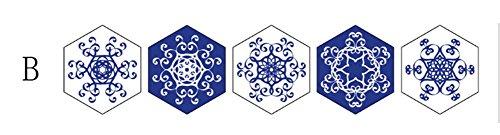 BKPH Hexagonal blau und weiß Porzellan Fliesen Aufkleber Wohnzimmer Schlafzimmer Küche Aufkleber Dekorative Wandaufkleber, B -