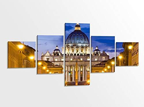 Leinwandbild 5 tlg. 200cmx100cm Petersdom Vatikan Rom Italien Kat15 Papst Bilder Druck auf Leinwand Bild Kunstdruck mehrteilig Holz gerahmt 9AB362