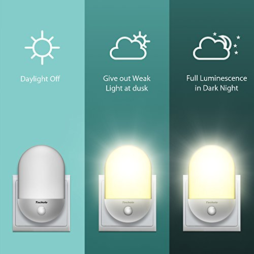 LED Night Light, Techole Plug-and-Play Automatic Wall Lights with Dusk to Dawn Photocell Sensor, Lighting for Children's room, Nurseries, Living room, Garage, Bathroom, Hallways -Warm White
