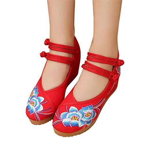 Successg 4 Farbe Plus Größe 35-40 Chinesische Art Traditionelle Frauen Blaue Blume Elastische Schwarze Flache Schuhe Für Frau Mädchen Xwx5988