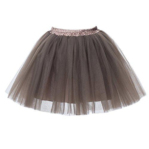 Honeystore Damen's Mini Tutu Ballett Mehrschichtige Rüschen Unterkleid (Kostüme Braun)