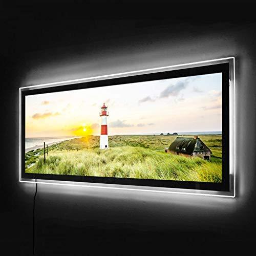 LED-Wandbild Panorama Leuchtbild Beleuchtetes Wandbild Acrylglasbild (100x40, Leuchtturm auf Sylt)