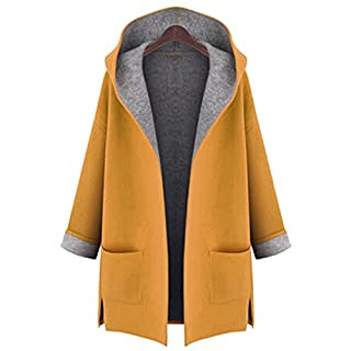 Anyu Womens Mid-Length Slim Fit Outerwear Hooded Outercoat Long Sleeves Jacket with Pockets Yellow L