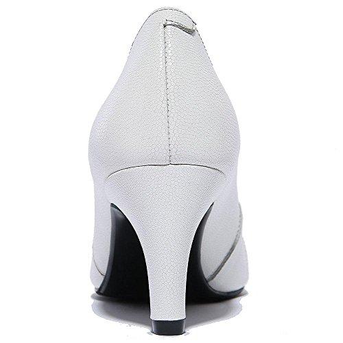 SHIXR Chaussures pour femmes Chaussures Slip-On Western Heel chaussures épaisses Noir blanc