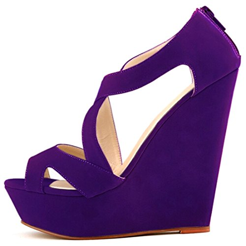 Oasap Exclusive Solid Strappy Platform Peep Toe Wedge High Heels Purple