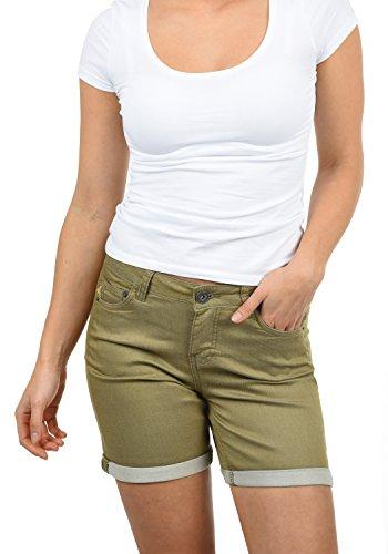 DESIRES Lila Damen Jeans Shorts Kurze Denim Hose aus Stretch-Material Skinny Fit, Größe:40, Farbe:Aloe (3612) (Denim Stickerei Pocket)