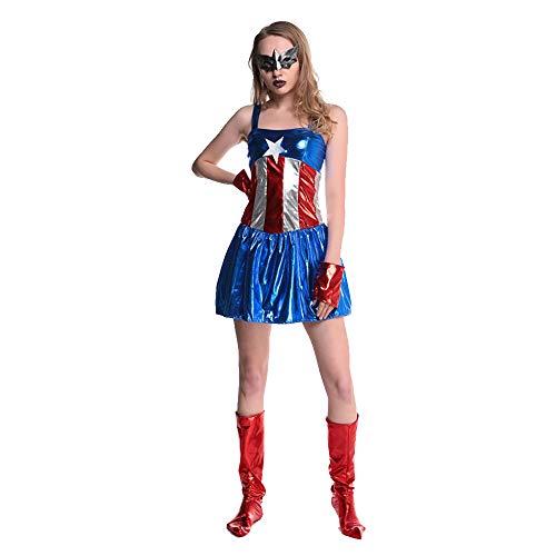 Frauen Halloween Kostüm Damen Sexy Erwachsene Overall Captain Superman Knight Nightclub - Superman Kostüm Blau