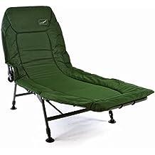 Divero Profi Karpfenliege Campingliege mit 6 Schlammfüßen Angelliege grün