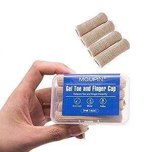 MQUPIN Zehen- und Fingerkappe, verstellbar, ausschneidbar, Gel-Zehenschutz, gerippt, mit Silopad-Digital-Kappe, 8 Stück