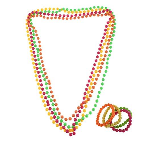 Perfeclan 80er Jahre Damen Neon Perlen Schmuck Perlenkette für Hals und Arm