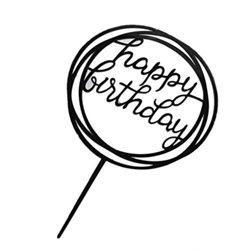 Jinzuke Runde Alles Gute zum Geburtstag Brief-Kuchen-Deckel Acryl DIY Kuchen-Kuchen-Smash-Kerze-Partei-Handmade-Stick