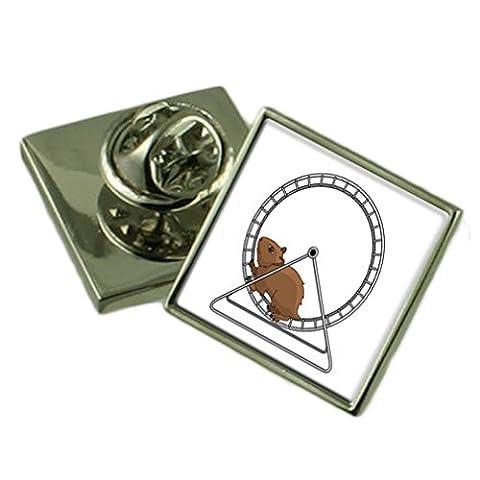 Sur une roue de hamster Épinglette en Argent Sterling Gift Box