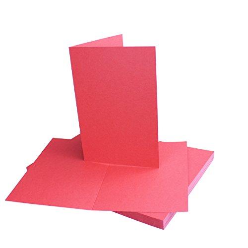 25 Faltkarten B6 - Rosen-Rot - PREMIUM QUALITÄT - 11,5 x 17 cm - sehr formstabil - für Drucker geeignet! - Qualitätsmarke: NEUSER FarbenFroh!!