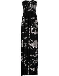 Fast Fashion Damen Totenkopfprint Sheering Elastischer Viskose Jersey Maxi Kleid