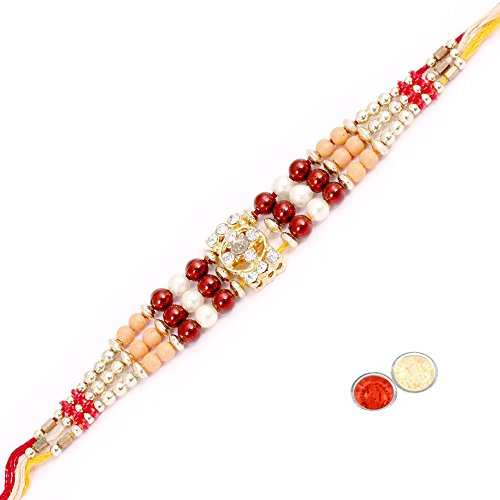Ethnic Rakhi Traditional Handmade Fancy Spritual Multi-Color Beaded Mauli Thread and Beads Rakhi for Men Beads_149
