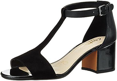 Clarks Damen Barley Belle T-Spangen Sandalen mit Keilabsatz, Schwarz (Black Combi Lea), 39 EU