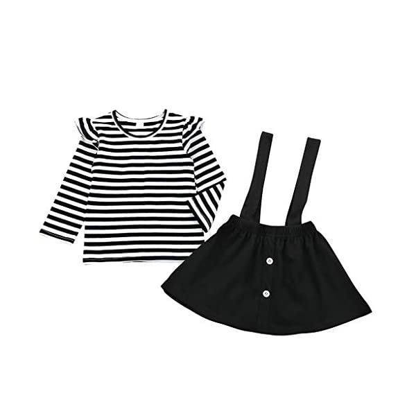 Conjuntos para bebés, Invierno Niños pequeños Bebés Niñas Camiseta de Manga Larga a Rayas Tops Correa Tirantes Faldas… 1
