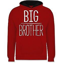 Geschwisterliebe Kind - Big Brother - 116 (5/6 Jahre) - Rot/Schwarz - JH003K - Kinder Kontrast Hoodie