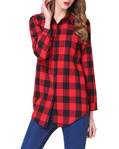 Kyerivs Damen V-Ausschnitt Beiläufig Lose Shirt Oberteile Elegant Sexy Langarmshirt Kariert Hemd Tops Einstellbare Ärmeln (B-schwarz rot, M)