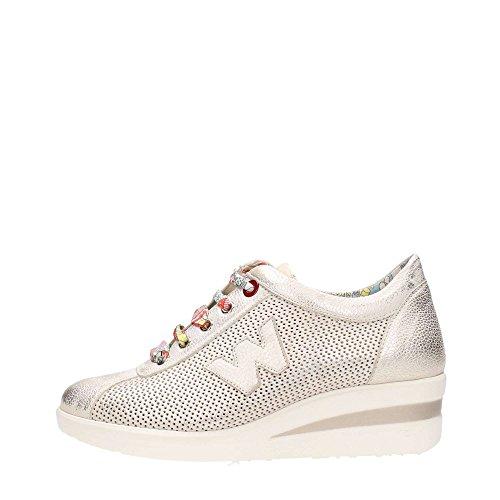 Sneakers Melluso in pelle beige spazzolata effetto oro con zeppa Cometa