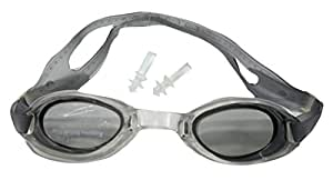 Neska Moda Black Grey Double Strap Unisex Silicon Swimming Goggle With Earplugs-Free Size