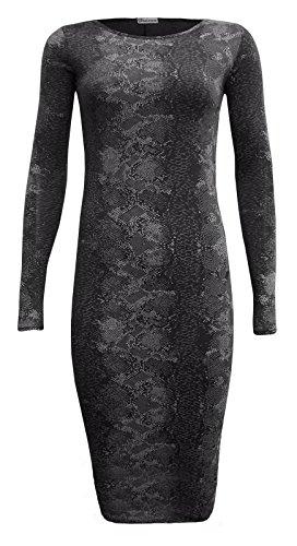 Fashion 4 Less - Robe - Midi - Manches Longues - Femme Noir - Noir